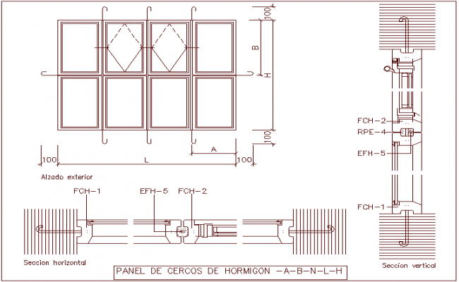 External elevation view, concrete fence panel door dwg file