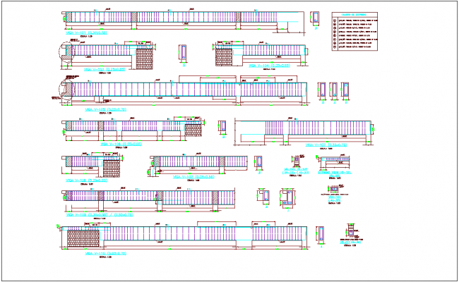 Extreme beam structure view for bank agency dwg file