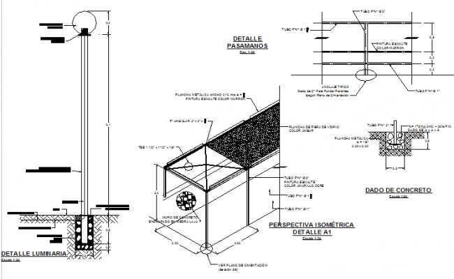 Extreme fixture and handrails constructive details dwg file