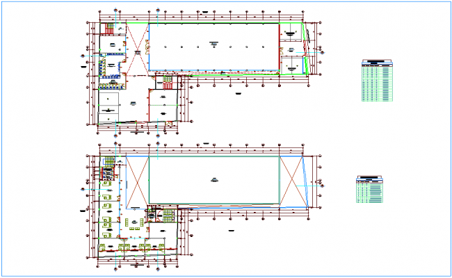 Extrusion plan for industrial park with door and window schedule dwg file