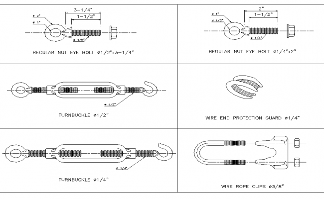 Eye-bolt and turnbuckle plan detail dwg.