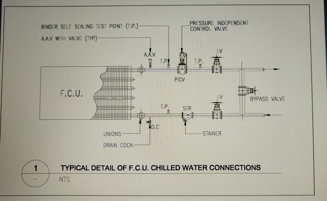fcu chilled water piping connection detail. Black Bedroom Furniture Sets. Home Design Ideas