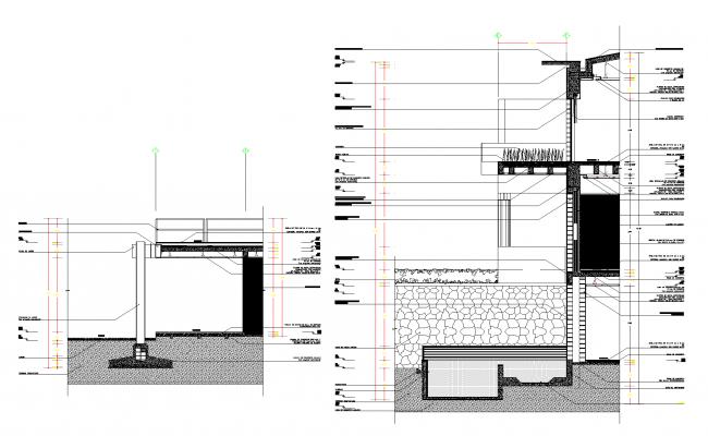 Façade section residential house plan detail dwg.