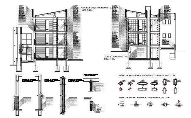 Facade constructive section details of three story house dwg file