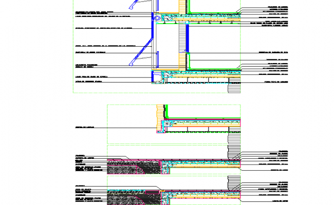 Facade cross section detail dwg file