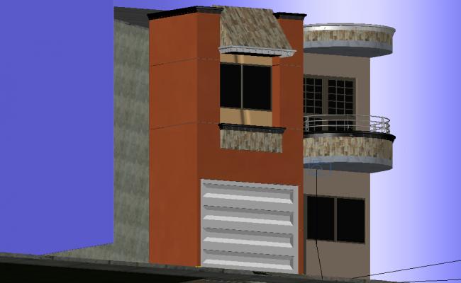 Facade house 2 floors 3 d applied materials plan detail