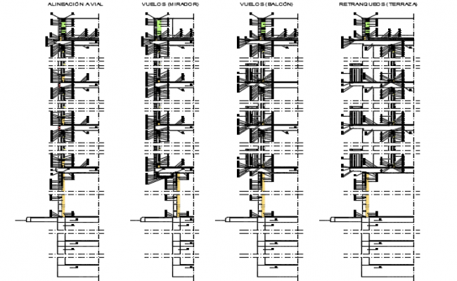 Facade sections detail dwg file