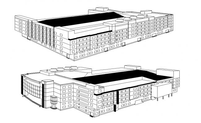 Factory Building Elevation Design AutoCAD File