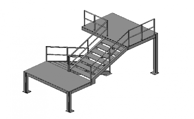 Factory Staircase elevation in 3d