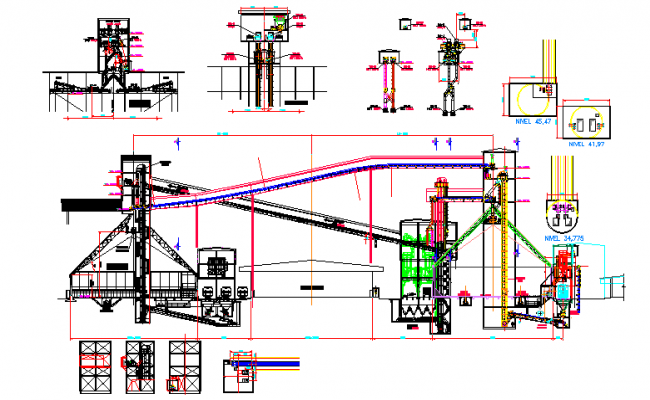 Factory machinery with plan