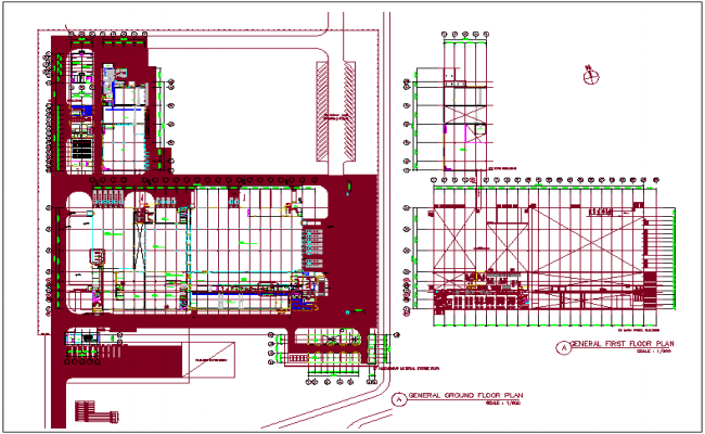 Factory plan view for machine production dwg file
