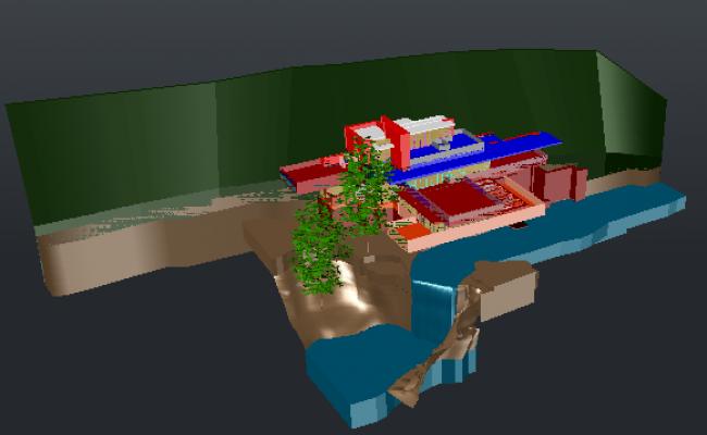 Falling Water side bungalow design drawing