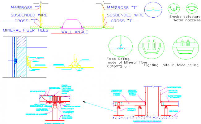 False ceiling and lights dwg file