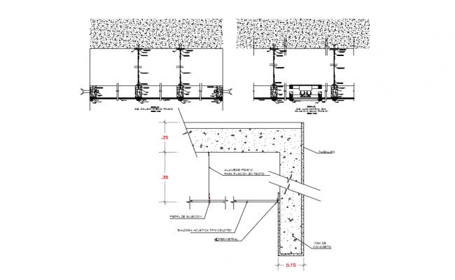 False ceiling design detail view dwg file