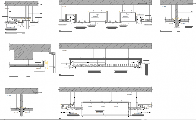 False ceiling section detail drawings cad files