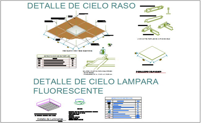 False ceiling detail view tile dwg file