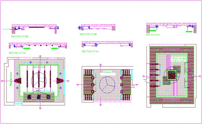 False ceiling interior design with plan and section view dwg file