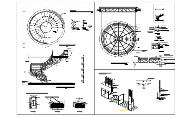 False ceiling with view of stair view with plan with isometric view dwg file