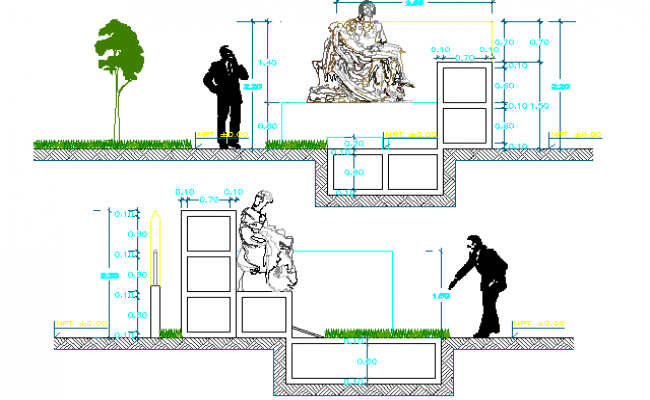 Family Mausoleum Architecture Layout and Structure Details dwg file