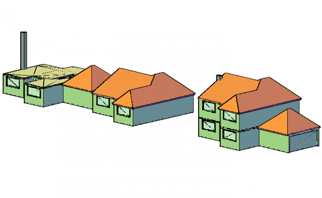 Family home sand two levels 3 D view detail dwg file
