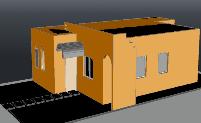 Family house 3 D detail dwg file