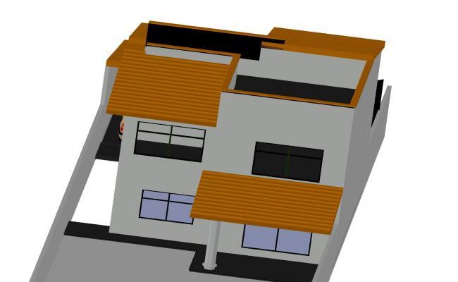 Family house 3 d plan dwg file