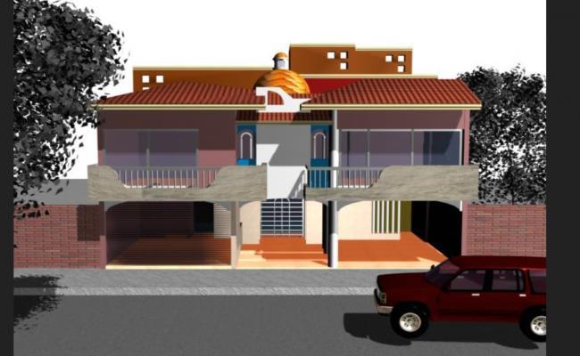 Family house 3d dwg file