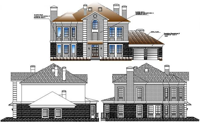 Family house drawings elevation dwg file