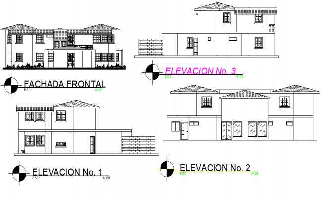 Family house elevation plan layout file