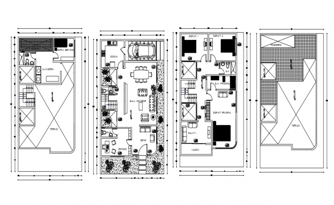 Family house in square Dwg file