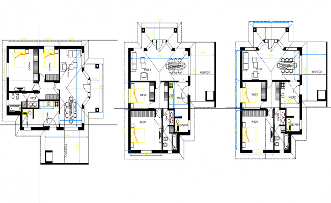 Family house plan autocad file