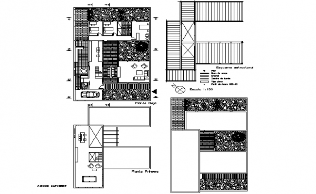 Family house plan detail dwg file