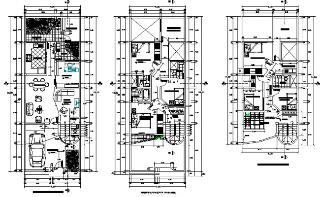 Family house planing detail dwg file