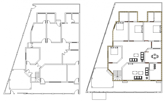 Family house planning detail dwg file