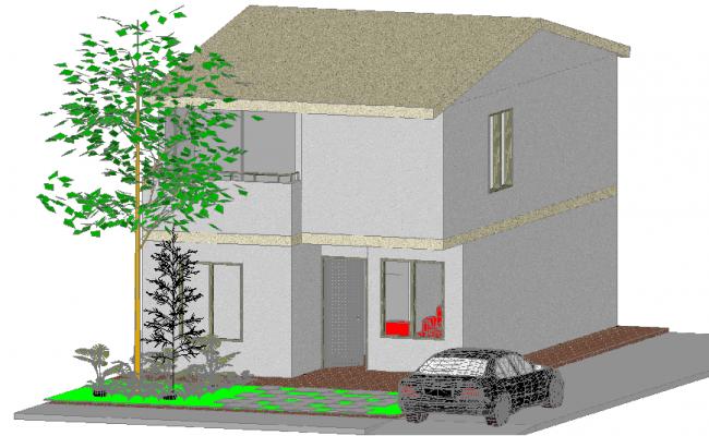 Family housing 3 d detail dwg file