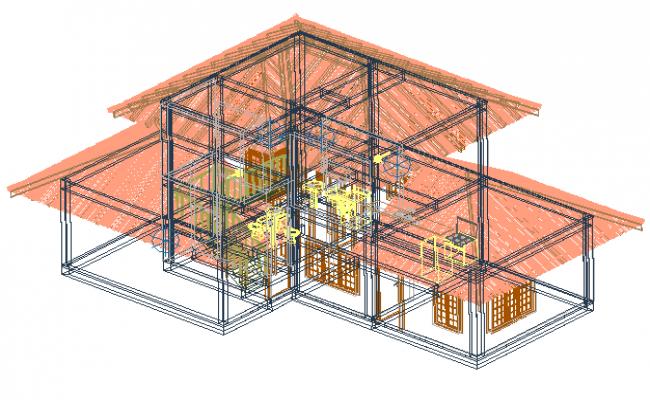 Family residence in 3 D plan dwg file