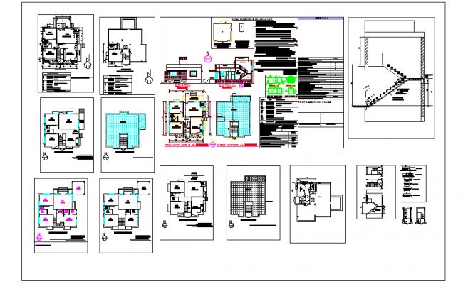 Farm House Design With Plan and Elevation dwg file