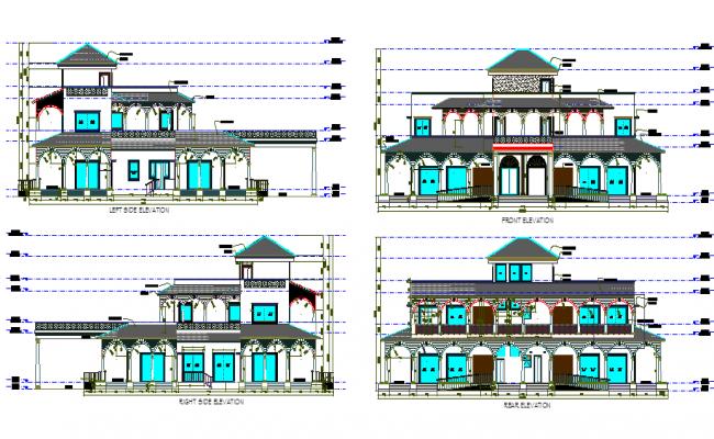 Farm house elevation plan autocad file