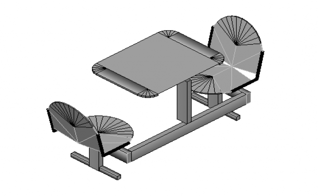 Fast food table and chairs 3d file