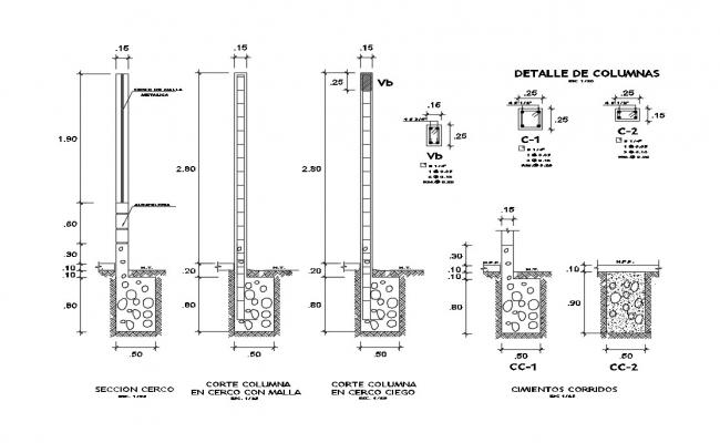 Fence concrete footing structure cad drawing details dwg file
