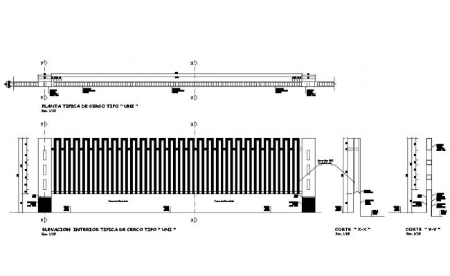 Fence elevation, section, plan and structure details dwg file