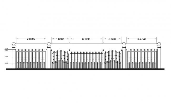 Fence elevation with gate and auto-cad details dwg file