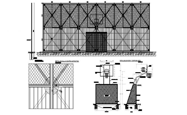 Fence section, construction and installation cad drawing details dwg file