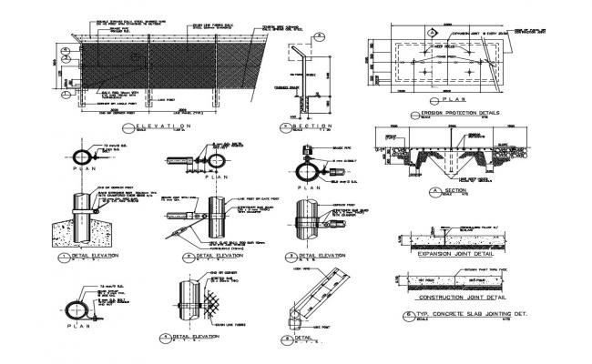 Fence section, plan and constructive structure details dwg file