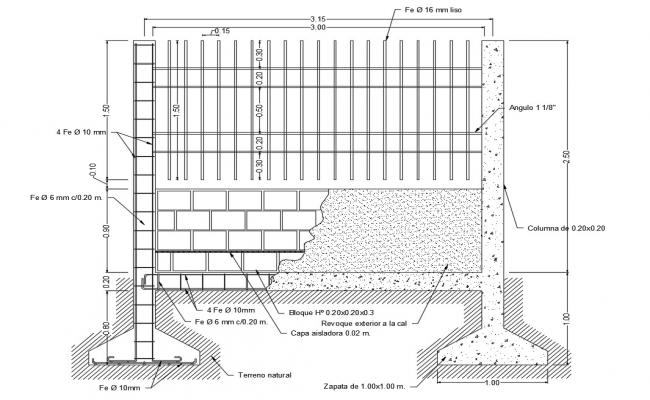 Fence section and construction details with footing dwg file