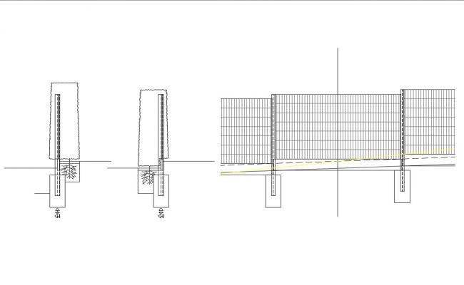 Fence section and structure cad drawing details dwg file