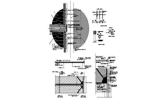 Fencing elevation, section, plan and installation details dwg file