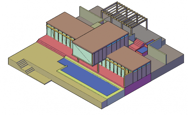 Field house 3d design with architectural view dwg file