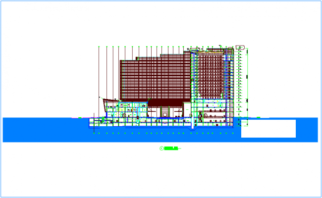 Fifteen floor apartment view with podium dwg file