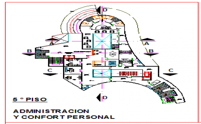 Fifth floor layout of administrative office in corporate building design drawing